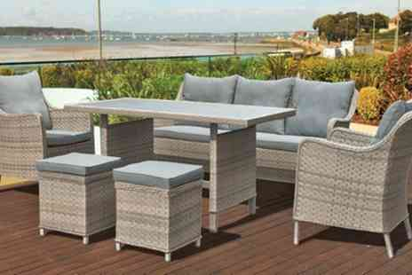 Groupon Goods Global GmbH - Oseasons Kensington Rattan Seven Seater Sofa Dining Lounge Set With Free Delivery - Save 53%