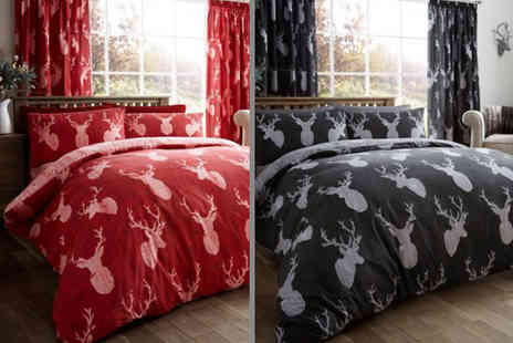 Groundlevel - Single, double, king or super king size reversible stag duvet set - Save 70%
