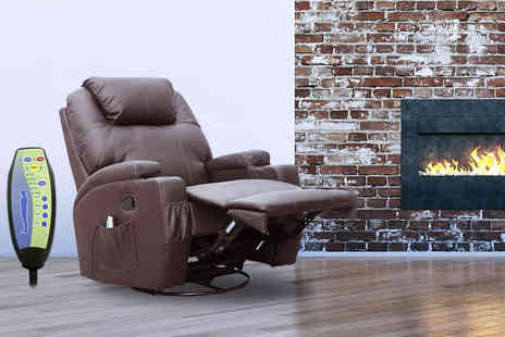 Product Mania - Reclining massage chair with ten different features choose black, brown, red or cream - Save 62%