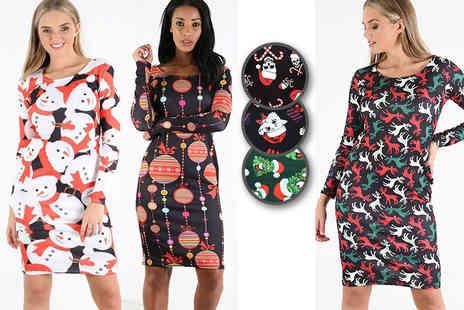 Bejealous - Christmas bodycon dress choose from seven gorgeously festive designs - Save 58%