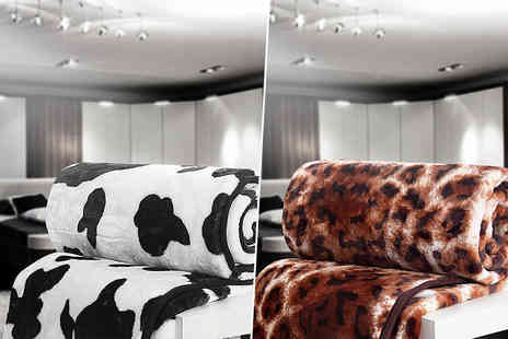 Fusion Homeware - Animal print faux mink throw choose from five grrrreat designs - Save 63%