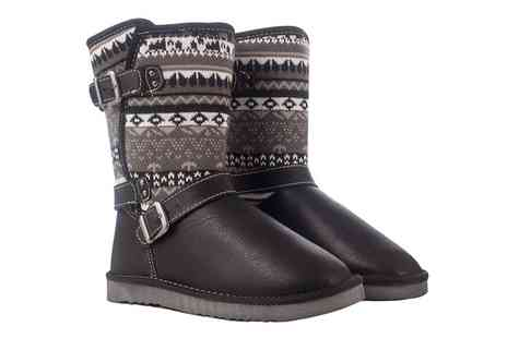 Groupon Goods Global GmbH - Ladies Faux Sheepskin Fair Isle Boots - Save 0%