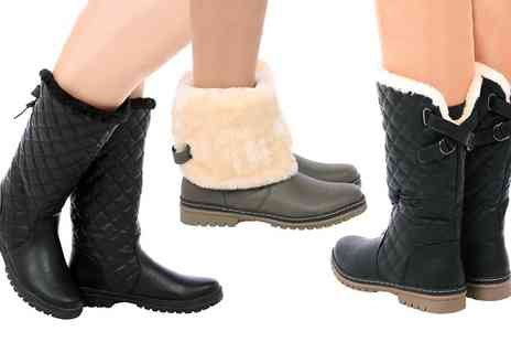 Groupon Goods Global GmbH - Womens Quilted Lined Boots in Choice of Styles and Colours - Save 0%