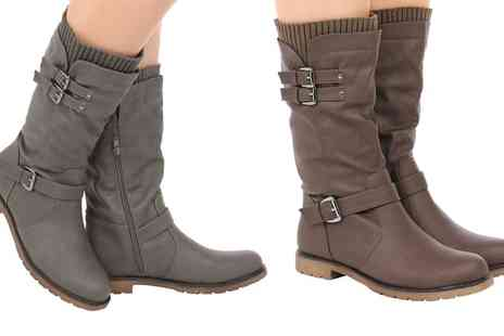 Groupon Goods Global GmbH - Womens Mid Calf Sock Detail Boots - Save 0%