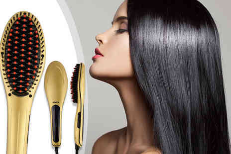 Meadow Vale - Gold hair straightening brush with ceramic plates - Save 77%