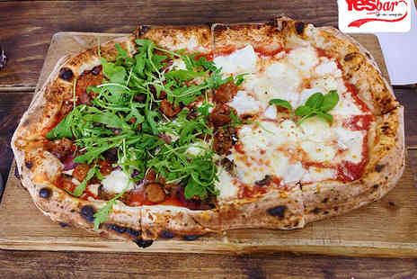 Yesbar - Starter, half metre pizza to share and comedy club ticket each for two - Save 80%