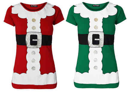 Bejealous - Womens Santa costume T shirt choose from red or green - Save 69%