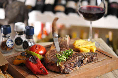 Queens Cafe Bar - 8oz porterhouse steak meal for two with a sauce, side and glass of wine each - Save 41%