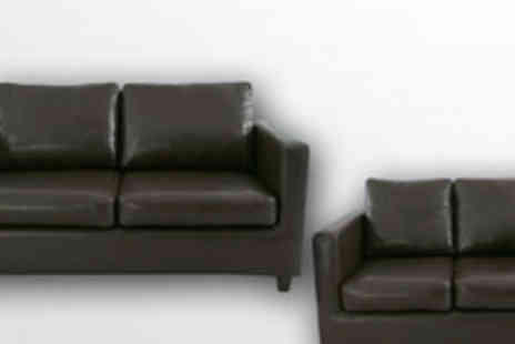 Smart Line Furniture - Contemporary Madrid 2 and 3 seater faux leather sofa set in brown or black - Save 63%