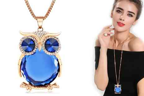 Groupon Goods Global GmbH - Owl Necklace Made with Crystals From Swarovski - Save 60%