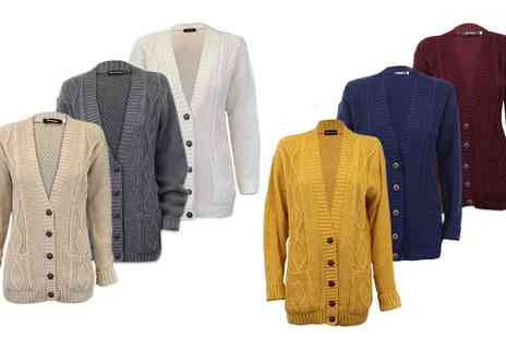 Groupon Goods Global GmbH - Womens Cable Knit Cardigan in Choice of Colour - Save 0%