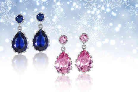 Your Ideal Gift - Pair of simulated sapphire earrings choose from blue or pink - Save 92%