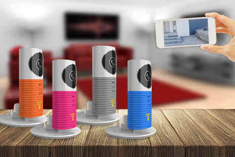 Partikle - Smartphone controlled CCTV camera choose from grey, blue, pink and orange - Save 80%