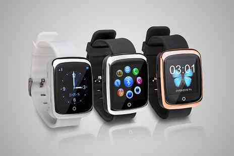 Groupon Goods Global GmbH - BAS Tek WP08 iOS Compatible Smartwatch With Free Delivery - Save 0%