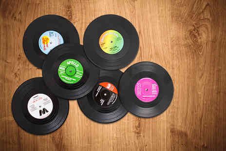 Shop Sharks - Six vinyl record coasters - Save 67%