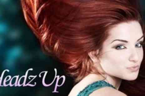 Headz Up Hair and Beauty - Full Head Colour or Half Head Highlights With Cut, Blow Dry, and Shiatsu Head Massage - Save 60%