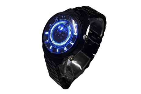 Groupon Goods Global GmbH - Mens Blue LED Binary Wrist Watch - Save 0%