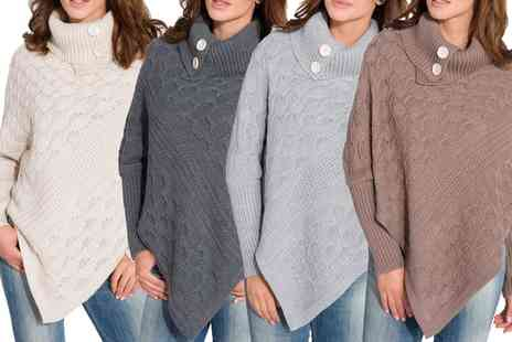 Groupon Goods Global GmbH - Womens Cynthia Roll Neck Knitted Poncho - Save 0%