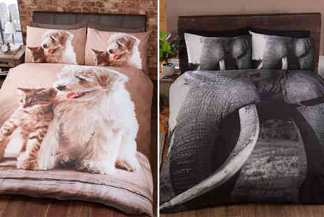 Deals Direct - Single printed animal duvet set choose from five designs - Save 60%
