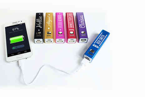 Shop Sharks - Personalised power bank choose pink, purple, black, red, blue or gold - Save 61%