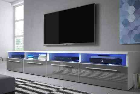 Groupon Goods Global GmbH - Single or Double  Siena Gloss TV Cabinet with LED Lighting With Free Delivery - Save 0%