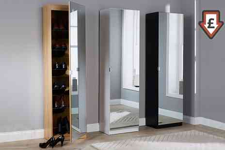 Groupon Goods Global GmbH - Five Feet Mirrored Shoe Cabinet With Free Delivery - Save 0%