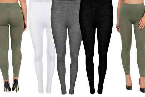 Groupon Goods Global GmbH - Two Pack of Plain Viscose Leggings in Choice of Colour - Save 0%
