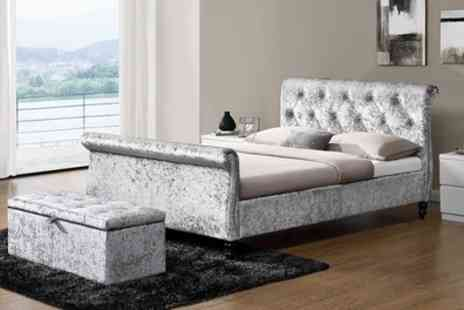 Groupon Goods Global GmbH - Silver Crushed Velvet Bed with Optional 9 Inch Spring Mattress Include Free Delivery - Save 49%