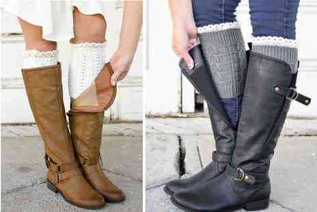 The Wholesale Group - Pair of lace top boot cuffs select from nine colours - Save 79%
