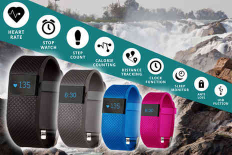 Ckent - TW64s 8 in 1 Bluetooth sports activity bracelet with heart rate monitor available in black, navy, pale blue & pink - Save 80%