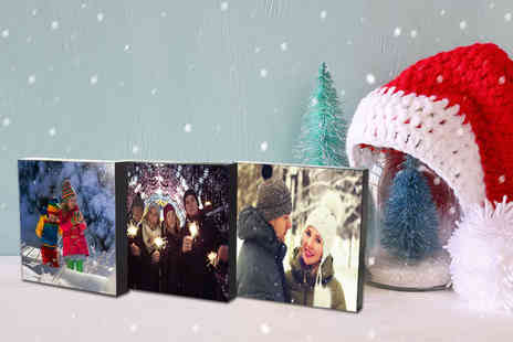 WHOARTNOW - Three 5 x 5 Inch personalised photo blocks choose from nine colour finishes on the side - Save 84%