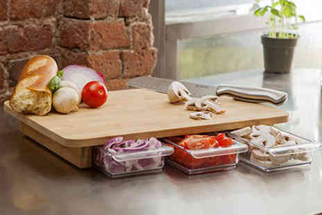 2tech - Bamboo chopping board with three pull out food container trays - Save 81%