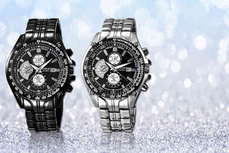 Solo Act - Mens chronograph watch choose from black and silver - Save 76%