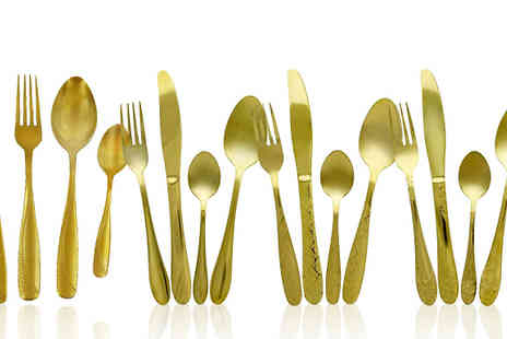 Elegant Trading - 16 or 24 Piece Gold Coloured Cutlery Set Fours Designs - Save 0%