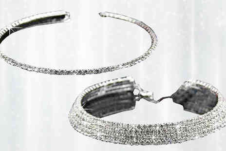 Liger Trading - One Row or Five Row Simulated Crystal Choker Necklace - Save 0%