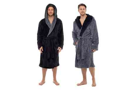 Groupon Goods Global GmbH - Mens Hooded Snuggle Fleece Robe - Save 0%