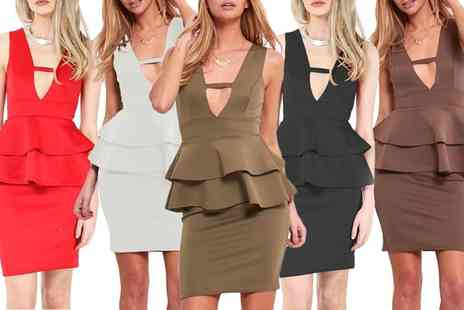 Groupon Goods Global GmbH - Double Frill Bodycon Dress Available Up to Size 20 - Save 0%