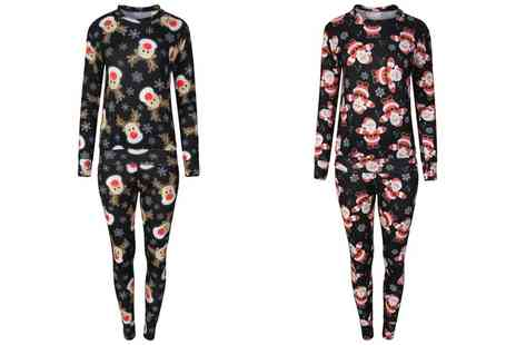 Groupon Goods Global GmbH - Womens Two Piece Christmas Print Loungewear - Save 0%
