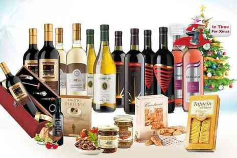 Giordano Wines - 12 bottle Italian wine and food hamper with a sommelier set - eat, drink and be merry Plus Delivery Included - Save 0%