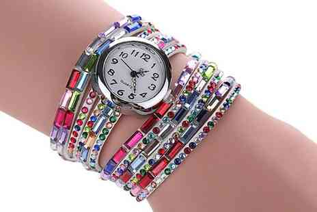 Groupon Goods Global GmbH - Colourful Wrap Around Watch with Crystals from Swarovski - Save 0%
