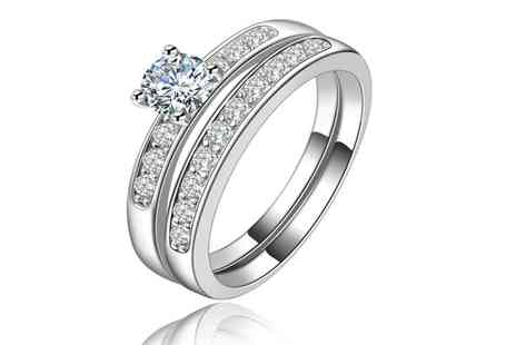 Groupon Goods Global GmbH - Two Piece 3.64ct Engagement Ring Set Made with Crystals from Swarovski - Save 0%