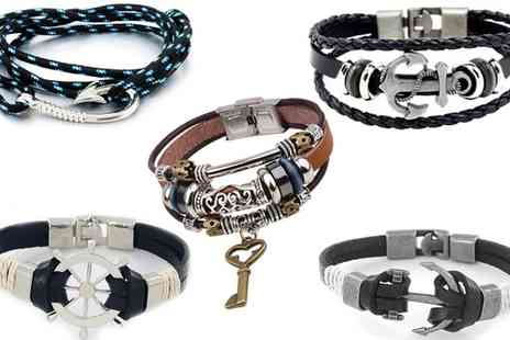 Groupon Goods Global GmbH - Mens PU Leather Bracelet - Save 0%