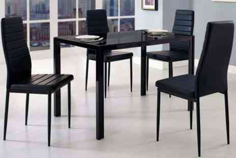 Groupon Goods Global GmbH - Berlin Glass Dining Table and Four Chairs With Free Delivery - Save 82%
