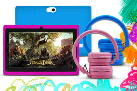 D2D - Kids 7 Inch Android tablet with headphones choose - Save 75%