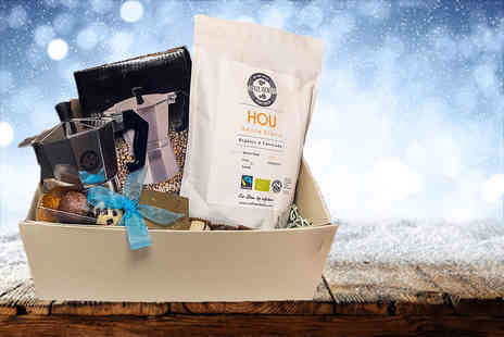 UK Fine Foods - Deluxe coffee and chocolate hamper including a stove top coffee maker - Save 76%