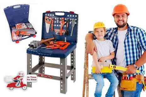 ViVo Technologies - Kids toy work bench and 69 piece toy tool kit including a battery powered drill - Save 67%