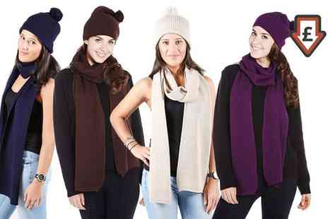 Groupon Goods Global GmbH - Knitted Hat and Scarf Set in Choice of Colour - Save 0%