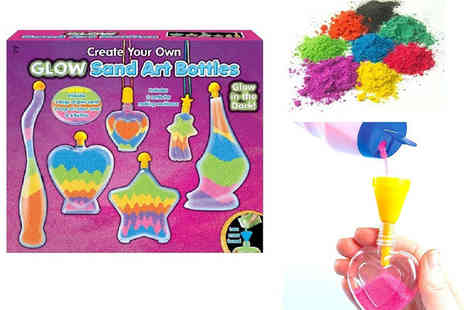 Ckent - Glow in the dark & coloured sand with art bottles & necklace cords - Save 50%