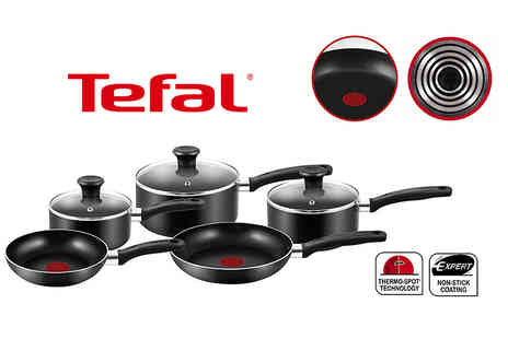 Elite Housewares - Five piece Tefal non stick cookware set choose black or red - Save 68%