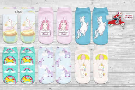 Doohickey Hut - Six pack of unicorn socks in six different designs - Save 80%